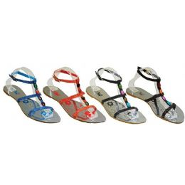 24 Units of Ladies Strap Sandal With Color Studs - Women's Sandals