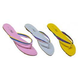 24 Units of Ladies Pastel Color Sandal With Color Straps - Women's Sandals