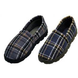 36 Units of Plaid Rubber Bottom Slippers - Men's Slippers