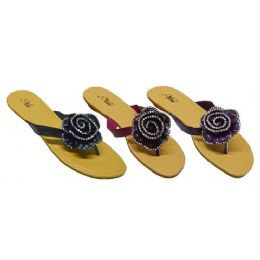 24 Units of Rhinestone Floral Sandal - Women's Sandals