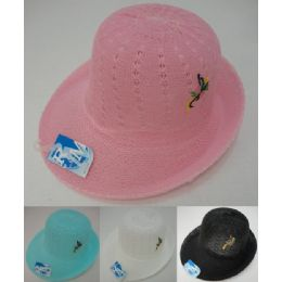 24 Units of Ladies Mesh Embroidered Derby Hat - Sun Hats