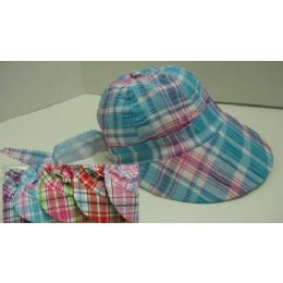 144 Units of Child's Plaid Sun Bonnet - Sun Hats