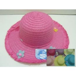 120 Units of Girls Sun Bonnet With Fringe And Flowers - Sun Hats