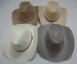 24 Units of Gray/tan Summer Mesh Cowboy Hat - Cowboy & Boonie Hat