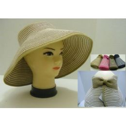 60 Units of Ladies RolL-Up LargE-Brimmed Sun Visor With Velcro Bow - Sun Hats