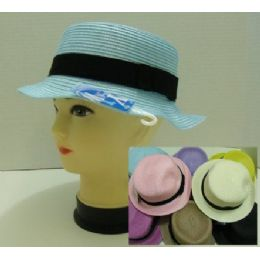 24 Units of Ladies Round Pastel Hat With Black Hat Band - Sun Hats