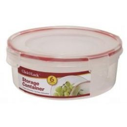 24 Units of 6 Piece Round Plastic Container with Click And Lock Lids - Food Storage Containers