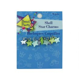 144 Units of Pastel Shell Star Charms, Pack Of 9 - Craft Beads
