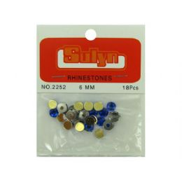 144 Units of Sapphire Rhinestones With Mounts, Pack Of 18 - Craft Beads