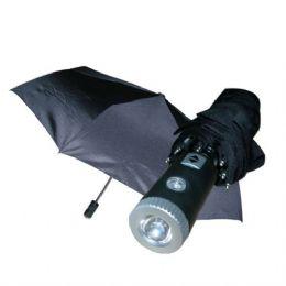 24 Units of Umbrella 3 Fold Black LED w/ Display - Umbrellas & Rain Gear