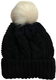 "Yacht & Smith Womens Pom Pom Beanie Hat, Winter Cable Knit Hat, Warm Cap, 3"" Poms Black - Winter Beanie Hats"