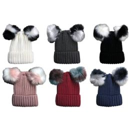 6 Units of Yacht & Smith Womens 3 Inch Double Pom Pom Ribbed Beanie Hat, Assorted Colors Value Pack - Winter Beanie Hats