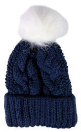 "Yacht & Smith Womens Pom Pom Beanie Hat, Winter Cable Knit Hat, Warm Cap, 3"" Poms Navy - Winter Beanie Hats"