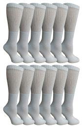 12 Units of Yacht & Smith Women's Premium Cotton Crew Socks White Size 9-11 - Womens Crew Sock