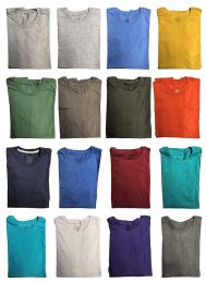 36 Units of Mens Cotton Crew Neck Short Sleeve T-Shirts Mix Colors, Small - Mens T-Shirts