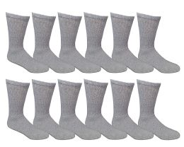 12 Units of Yacht & Smith Kids Cotton Crew Socks Gray Size 6-8 - Boys Crew Sock