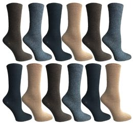 12 Units of Socksnbulk Womens Dress Crew Socks, Bulk Pack Assorted Chic Socks Size 9-11 - Womens Dress Socks