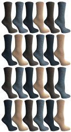 24 Units of Socksnbulk Womens Dress Crew Socks, Bulk Pack Assorted Chic Socks Size 9-11 - Womens Dress Socks