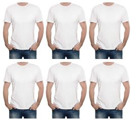 6 Units of Mens Cotton Short Sleeve T Shirts Solid White Size L - Mens T-Shirts