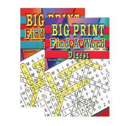 48 Units of Big Print Find-A-Word Puzzles Book Digest Size - Crosswords, Dictionaries, Puzzle books