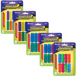 24 Units of Assorted Color & Shape Pencil / Pen Grip (8/pack) - Pencil Grippers / Toppers