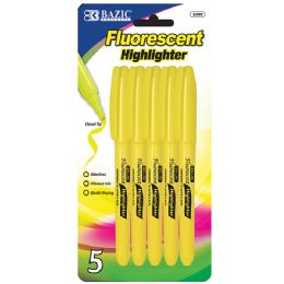 24 Units of Yellow Pen Style Fluorescent Highlighter W/ Pocket Clip (5/pk - Markers and Highlighters