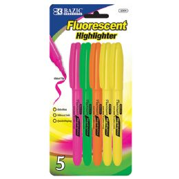 48 Units of Pen Style Fluorescent Highlighter W/ Pocket Clip (5/pack) - Markers and Highlighters