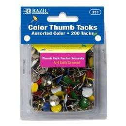 24 Units of Assorted Color Thumb Tack (200/Pack) - Push Pins and Tacks