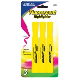 48 Units of Yellow Desk Style Fluorescent Highlighters (3/Pack) - Markers and Highlighters