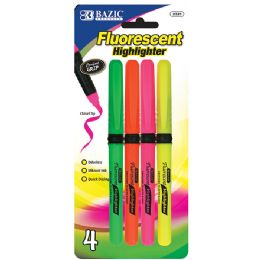 24 Units of Pen Style Fluorescent Highlighters w/ Cushion Grip (4/Pack) - Markers and Highlighters