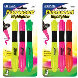 24 Units of Desk Style Fluorescent Highlighters w/ Cushion Grip (3/Pack) - Markers and Highlighters