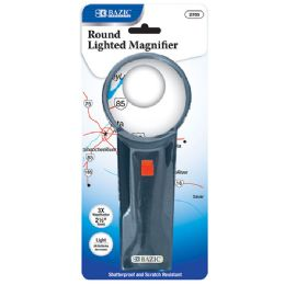 "12 Units of 2.5"" Round 3x Lighted Magnifier - Magnifying  Glasses"