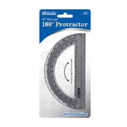 "24 Units of BAZIC Semicircular 6"" Protractor - Classroom Learning Aids"