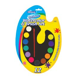 24 Units of Washable Watercolor Paint Palette with Brush - Art Paints