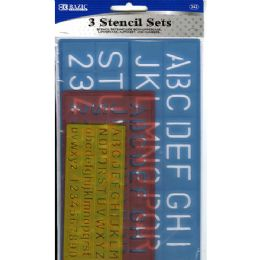 24 Units of 3 Pack Lettering Stencil Sets - Craft Tools