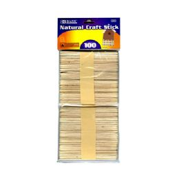 24 Units of Natural Wooden Craft Stick 100 Pack - Craft Wood Sticks and Dowels