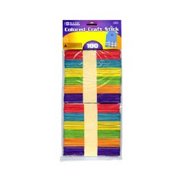 24 Units of Colored Craft Wooden Stick 100 Pack - Craft Wood Sticks and Dowels