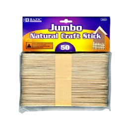 24 Units of Jumbo Natural Wooden Craft Stick 50 Pack - Craft Wood Sticks and Dowels