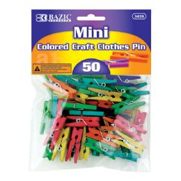 24 Units of Mini Colored Clothes Pin (50/Pack) - Clothes Pins