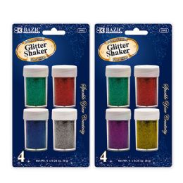 24 Units of 8g / 0.28 Oz. 4 Primary Color Glitter Shaker - Craft Glue & Glitter