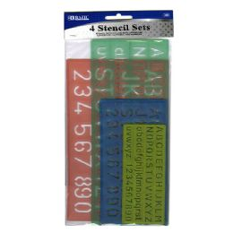 24 Units of 4 Pack Lettering Stencil Sets - Craft Tools