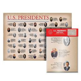 24 Units of Folded U.S. Presidents Wall Map - Classroom Learning Aids