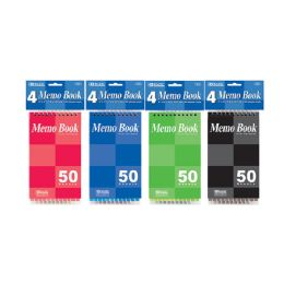 "24 Units of 50 Ct. 3"" X 5"" Top Bound Spiral Memo Books (4/Pack) - Memo Holders and Magnets"