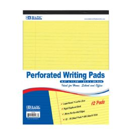 "6 Units of 50 Ct. 8.5"" X 11.75"" Canary Perforated Writing Pad (12/Pack) - Paper"