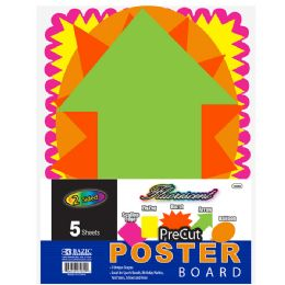 48 Units of Fluorescent Pre-Cut Poster Board Shapes (5/pack) - Poster & Foam Boards