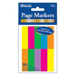 """24 Units of 100 Ct. 0.5"""" X 1.75"""" Neon Page Marker (10/Pack) - Sticky Note & Notepads"""