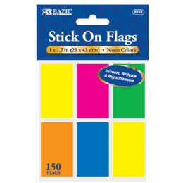 """72 Units of 25 Ct. 1"""" X 1.7"""" Neon Color Standard Flags (6/Pack) - Sticky Note & Notepads"""