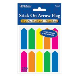 """24 Units of 25 Ct. 0.5"""" X 1.7"""" Neon Color Arrow Flags (10/Pack) - Sticky Note & Notepads"""