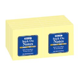 "12 Units of 100 Ct. 3"" X 3"" Yellow Stick On Notes (12/Shrink) - Memo Holders and Magnets"