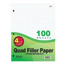 "36 Units of 100 Ct. 4-1"" Quad-Ruled Filler Paper - Paper"